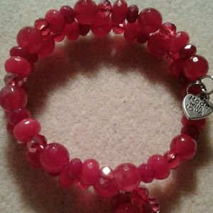 Jewelry - Ruby red genuine red agate and genuine jade bracel